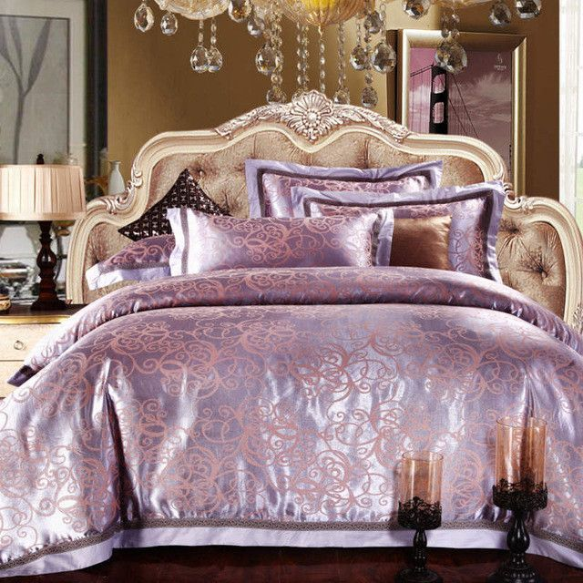 luxury silk bedding set embroidery bed linens tencel satin bed sheet set full - King Size Bed Sheets