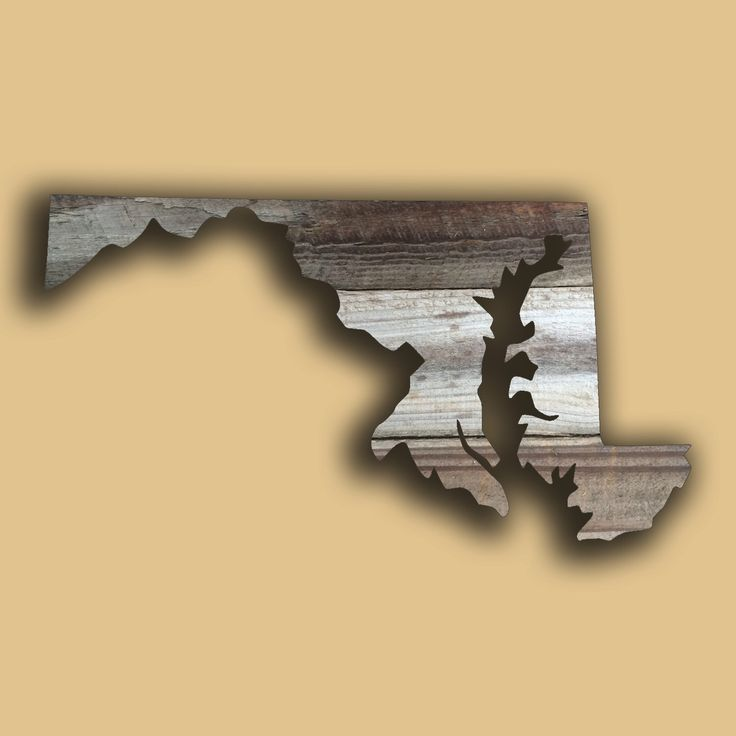 Maryland State Shape Rustic Wood Sign Hanger