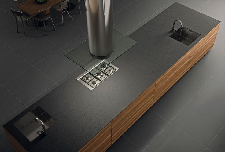 New Foster iTOPKer #porcelain Series for #countertops in Plomo colour and bush-hammered finish.