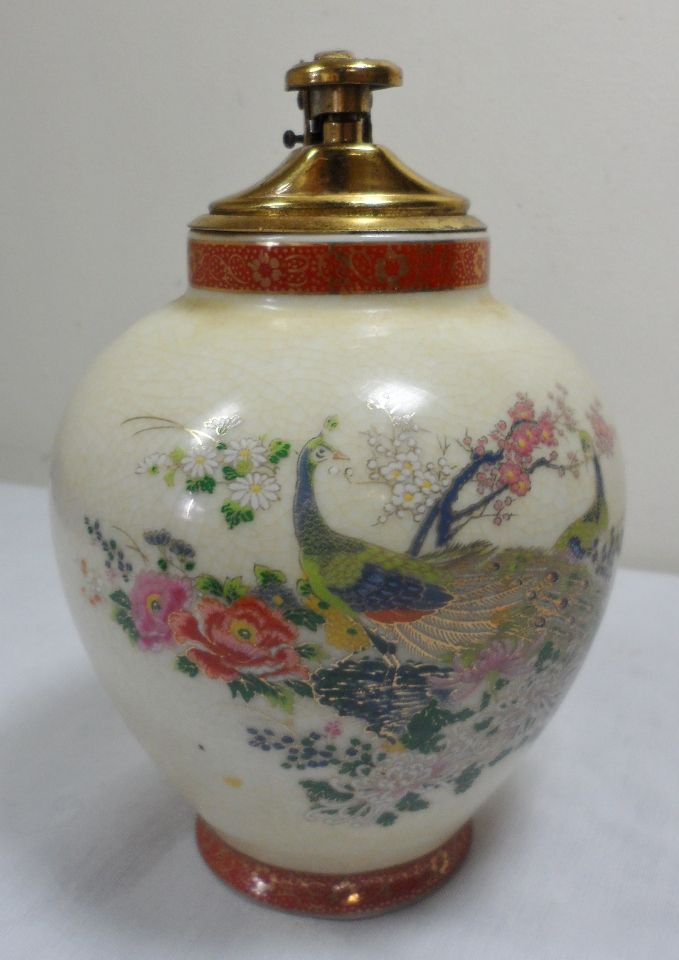 Antique Hand Painted Vases Vintage Mid Century Modern Satsuma Hand Painted Peacock Japan