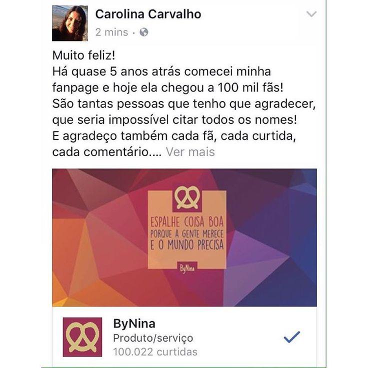 Muito obrigada a todos vocês que também estão curtindo a fanpage e me motivam tanto a melhorar sempre! ❤️ #gratidão #bynina #fanpage #100k