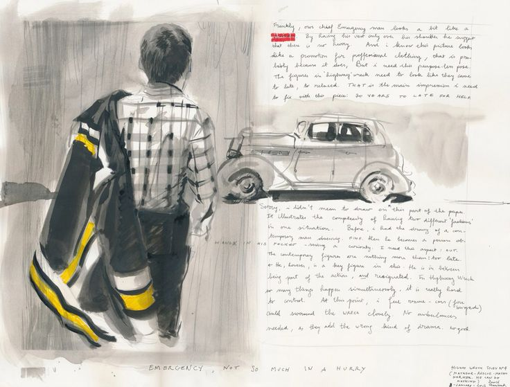 David Claerbout - Highway Wreck Drawing (study #4)