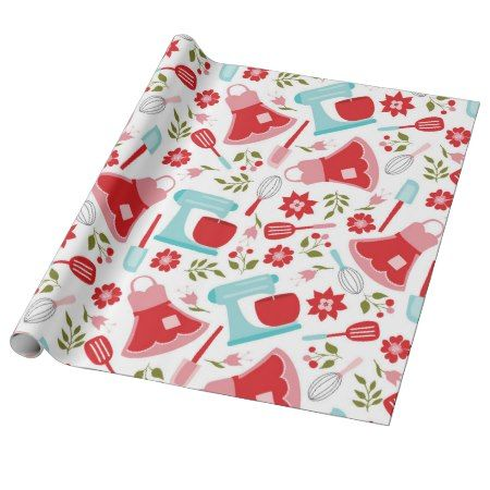 Red and Blue Vintage Kitchen Pattern Wrapping Paper - click/tap to personalize and buy #pattern #patterns #illustrations #illustration #cooking #kitchen #giftwrap #giftwrapping