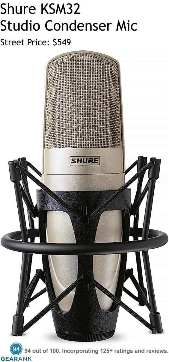 Shure KSM32 Studio Condenser Microphone. Class A, transformerless preamplifier circuitry eliminates cross-over distortion for improved linearity across the full frequency range. Switchable low-frequency filter provides greater flexibility to reduce background noise or to counteract proximity effect. For a detailed Guide to Studio Vocal Mics Under $1000 see https://www.gearank.com/guides/vocal-studio-mics