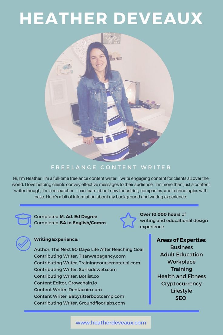Freelance writer infographic resume to send to clients