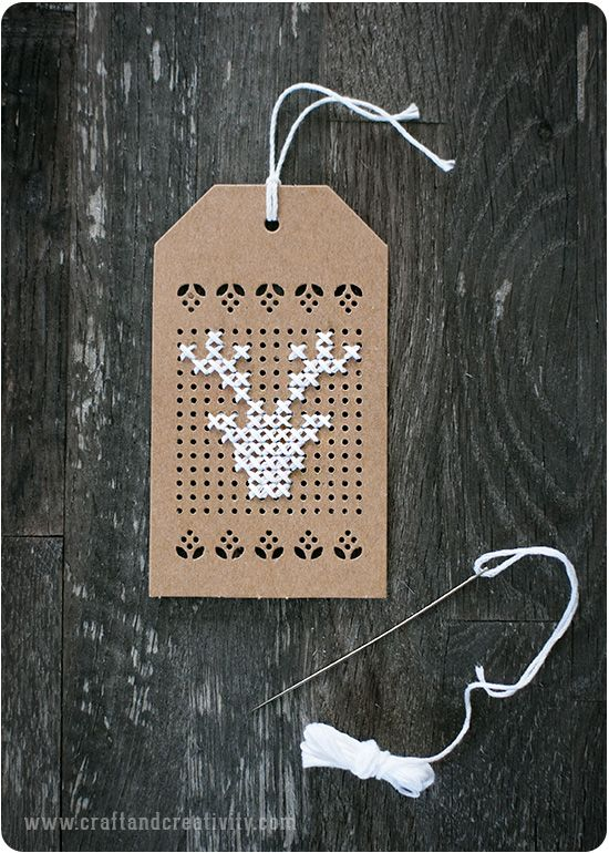 Cross stitch gift tags - so cute!
