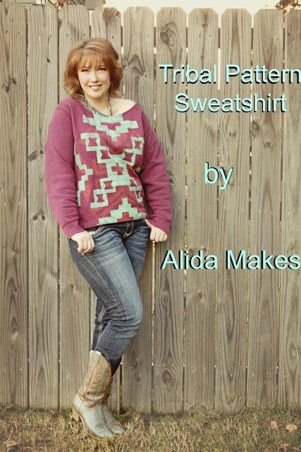 DIY tribal pattern sweatshirt - a tutorial - Love Stitched (Has printable stencil!)
