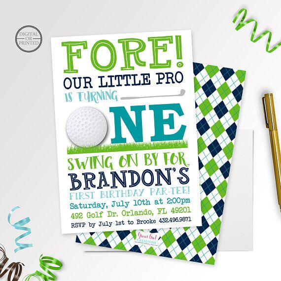 Golf Birthday Party Invitation | Order your personalized birthday invitations at Boardman Printing. Visit, https://www.facebook.com/BoardmanPrinting/