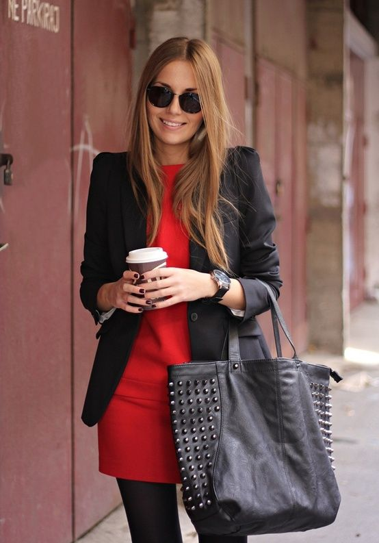 Office wear or any business setting. Black blazer, red pencil dress, and black stockings.