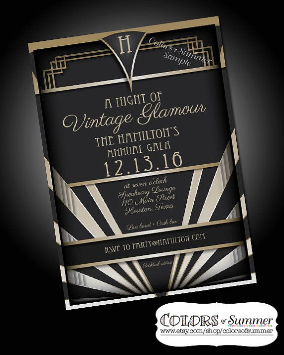 Vintage Glamour Invitation Speakeasy 1920 Roaring 20s Twenties Great Gatsby Hollywood Party