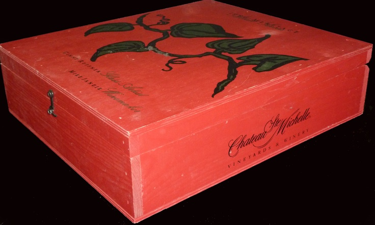 One-of-a-kind Chateau Ste. Michelle  3 Bottle Flip-top Wooden Wine Case Signed by the Winemakers