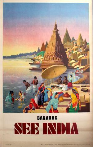 Banaras India Varanasi, 1940s - original vintage poster listed on AntikBar.co.uk