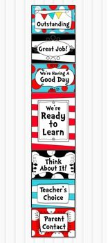 EDITABLE BEHAVIOR CLIP CHARTThis fun Dr Seuss inspired clip chart is a wonderful way to positively promote and manage student behavior in the classroom. The cards are editable so you can customize for your own classroom management system.The large red and white stripe card is approx 7.5 x 10 inches and fits on one sheet of paper in portrait orientation.