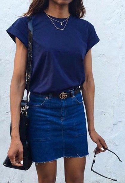 Skirt: navy frayed denim denim denim gucci belt gucci logo belt blue t shirt spring outfits