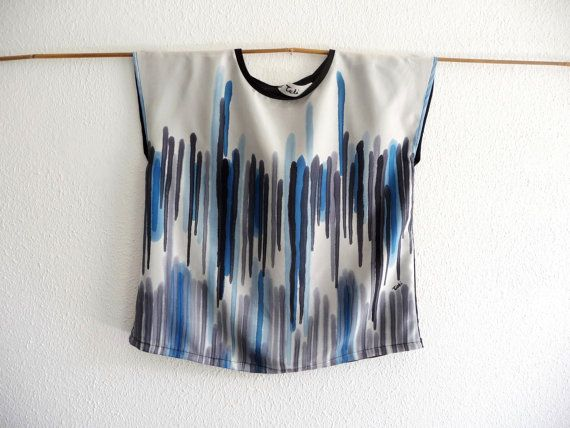 Silk blouse,Summer clothing,Silk shirt ,Silk top,Unique clothing, Oversized painted top,Hand painted top,Loose tunic,Boxy top,Summer top,Art