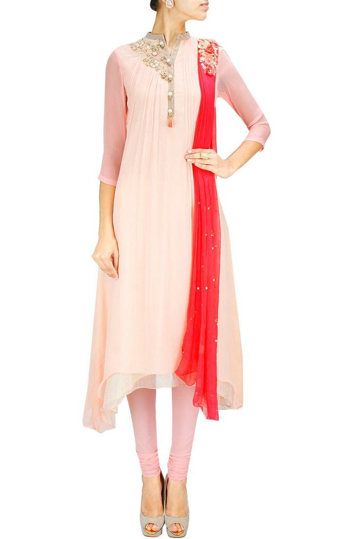 INTRODUCING : Peach and pink zardosi and sequins embroidered anarkali set by Yashodhara. Shop at www.perniaspopups... #new #designer #yashodhara #indian #traditional #shopnow #perniaspopupshop #happyshopping