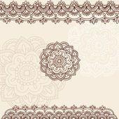 Henna bloem en rand ontwerp doodles vector-elementen — Stockvector