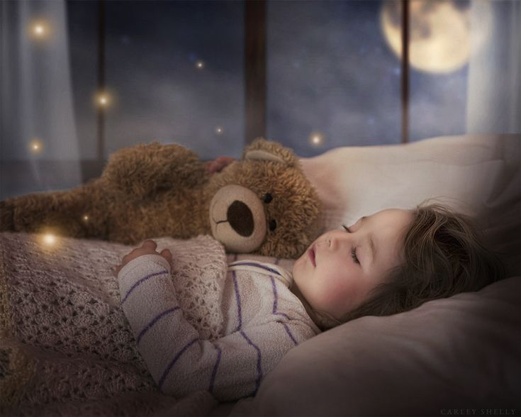 'Just a touch of Magic' by Carley Shelly Photography                   Baby girl sleeping with teddy prop and full moon in the background. Fine Art Digital Artist.