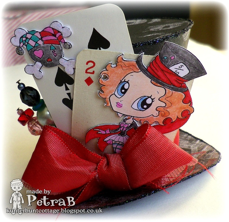 Mad Hatter Party Hat. images: Simply B Stamps, Little Miss Muffett coloured with copics and colouring pencils - vintage playing cards - paper: Prima Marketing - beads, satin ribbon