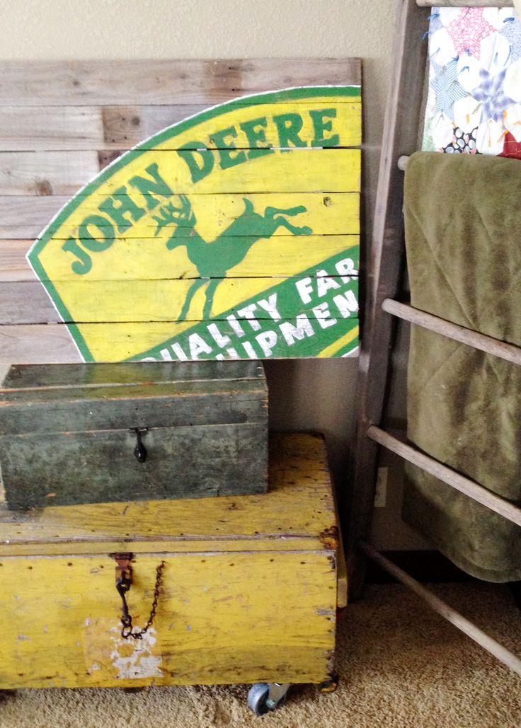 John Deere Sign on Reclaimed Wood http://www.SeedingAbundance.com http://www.marjanb.myShaklee.com