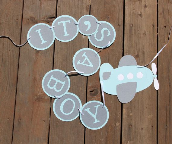 Airplane Baby Shower Banner Itu0027s A Boy Custom By SimpleSensations, $20.00