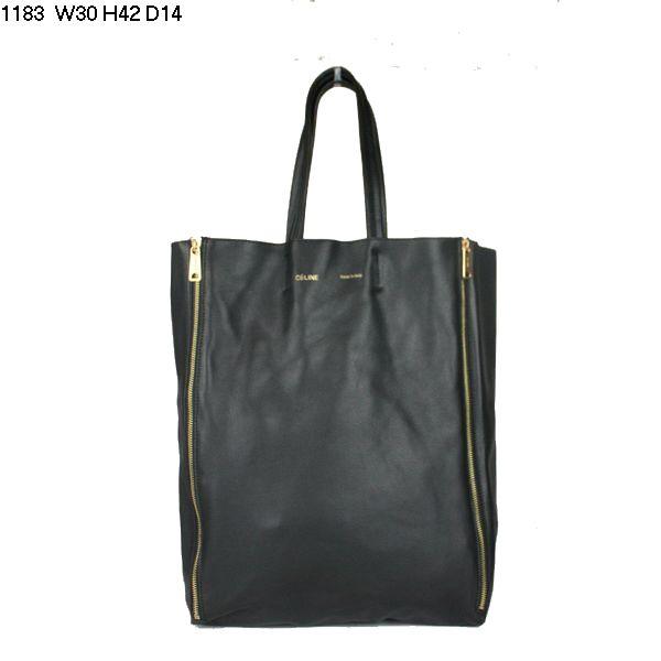 Celine Cabas Calfskin Leather Shopping Bag Black 1183      $179.00