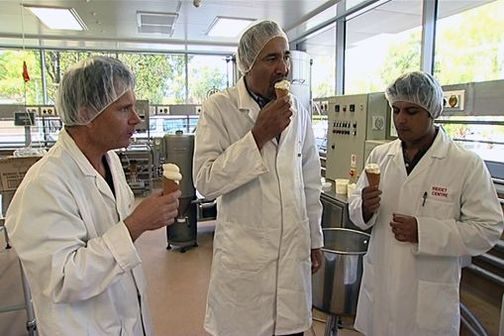 Scientists taste fish oil enriched ice cream at Massey University pilot plant.