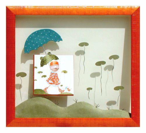 Collines réalisé par Sylvaine en 2011 Entre 2 verres. L'image est découpée et posée sur un biseau inversé orange. des feuilles sont collées sur le verre. Des collines rappellent le sol. Un parapluie bleu protège l'image…