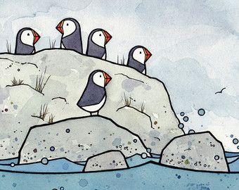 Pelikaan miniatuur aquarel Print kust vogel door studiotuesday