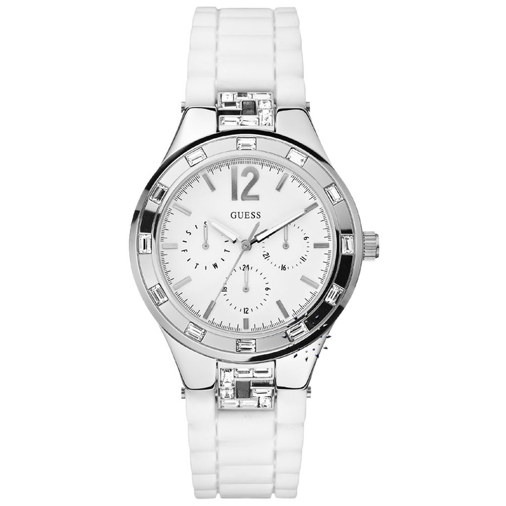 GUESS Crystals Multifunction White Rubber Strap Μοντέλο: W10615L1 Τιμή: 147€ http://www.oroloi.gr/product_info.php?products_id=27430