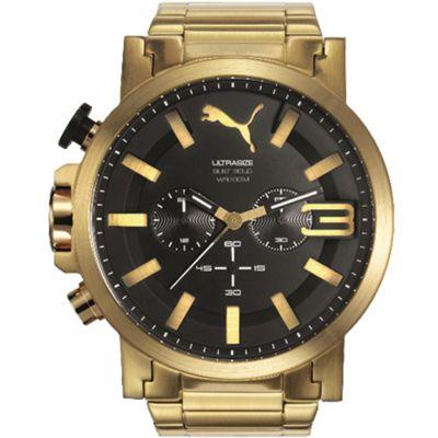 Relógio Puma Masculino Analógico c/ Cronógrafo Caixa de Aço Dourada, Pulseira de Aço Dourada, Visor de  Cristal Mineral Resistente à Água 10 ATM