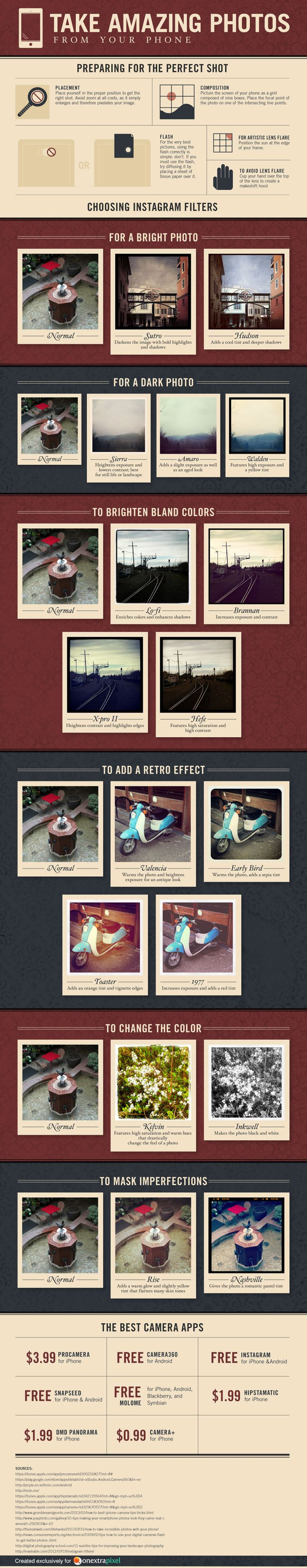 How to use Instagram filters to take amazing pictures from your smartphone #infographics