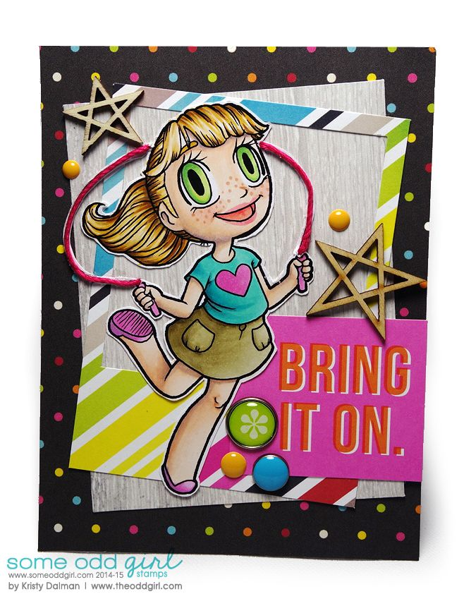 Bring It On by Kristy Dalman, #digistamp from @Mary Ellen Edwards Odd Girl, papers from @SIMPLE Comunicación Stories #cardmaking