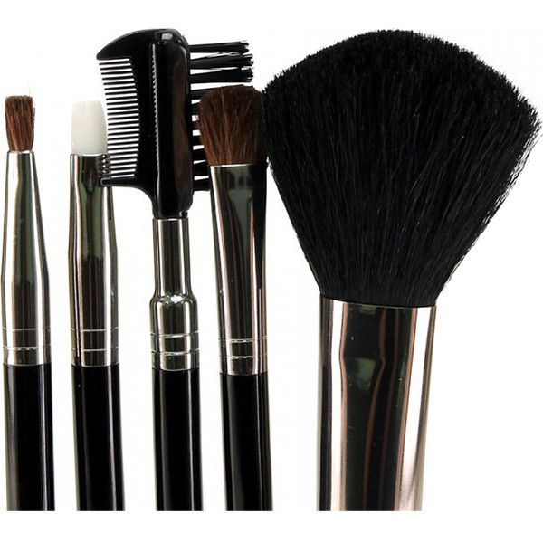 Glamour Status 6 Piece Travel Size Cosmetic Brush Set - Black -... ($16) ❤ liked on Polyvore featuring beauty products, makeup, makeup tools, makeup brushes, cosmetics, black, contour makeup brush, contour brush, lip brush and travel size makeup brushes