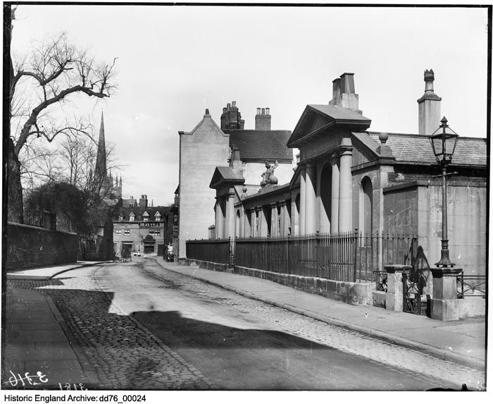 DD76/00024.  The Devonshire Almshouses on Full street, Derby.  Date: 1880 - 1900 Photographer: London Midland and Scottish Railway.  Please click for more information or to search our collections.