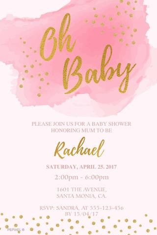 Baby Shower Digital Printable Invitation   Oh Baby (Pink)