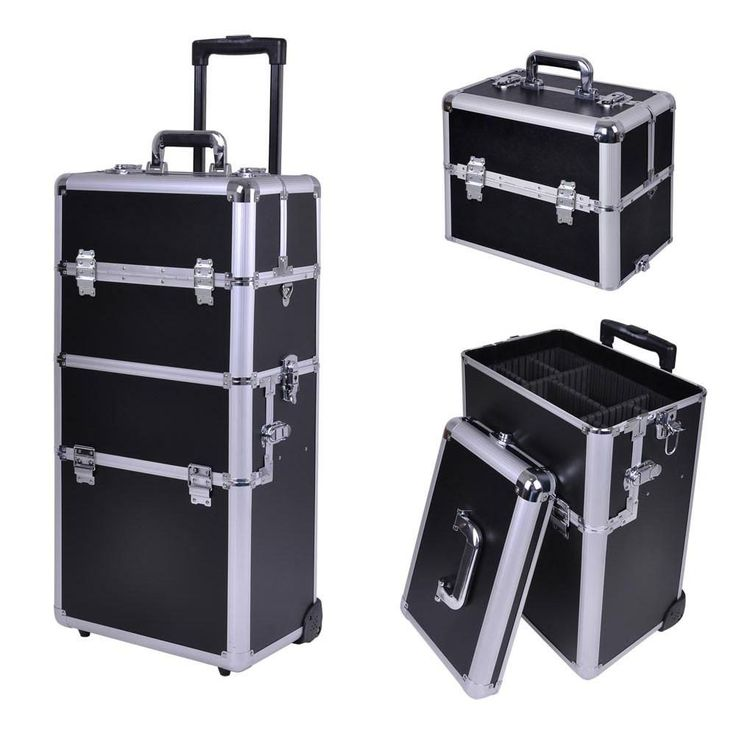 Silver Train Beauty Cosmetic Makeup Case On Wheels