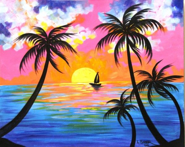 easy tropical paintings - Google Search