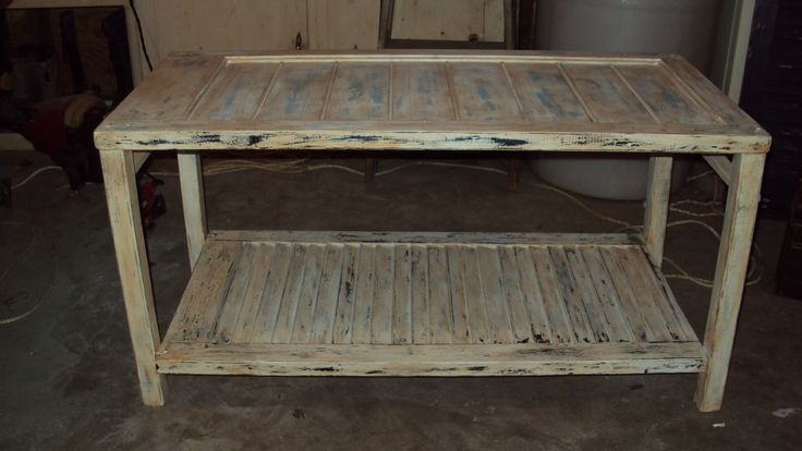 table made from old wooden shutters
