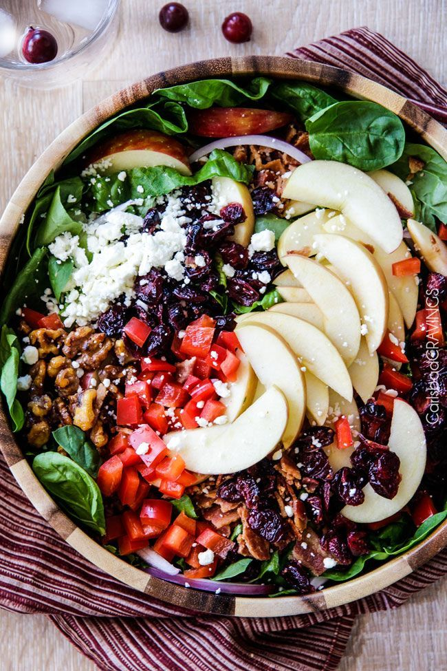 Apple Cranberry Bacon Candied Walnut Salad with Apple Poppy Seed Vinaigrette