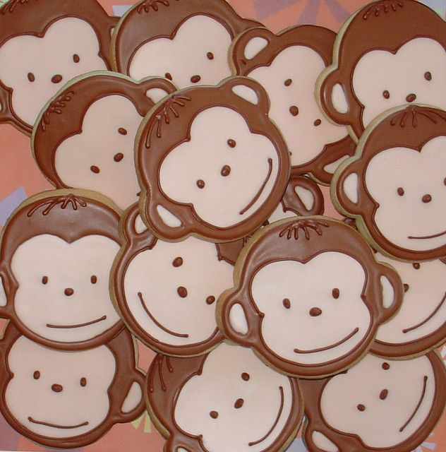 monkey cookies for the upcoming baby shower!