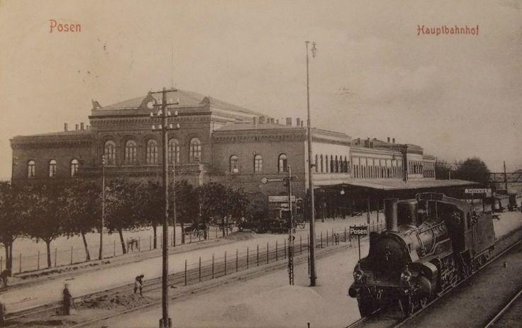 1908 , Stacja kolejowa w Poznaniu. Ul. Dworcowa - Dworzec Kolejowy