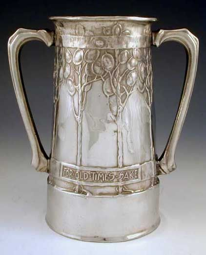 Liberty & Co - David Veasey - Polished pewter Arts & Crafts twin handled vase, tree & foiliage decoration with the legend 'For Old Times Sake'  Englandc.1902