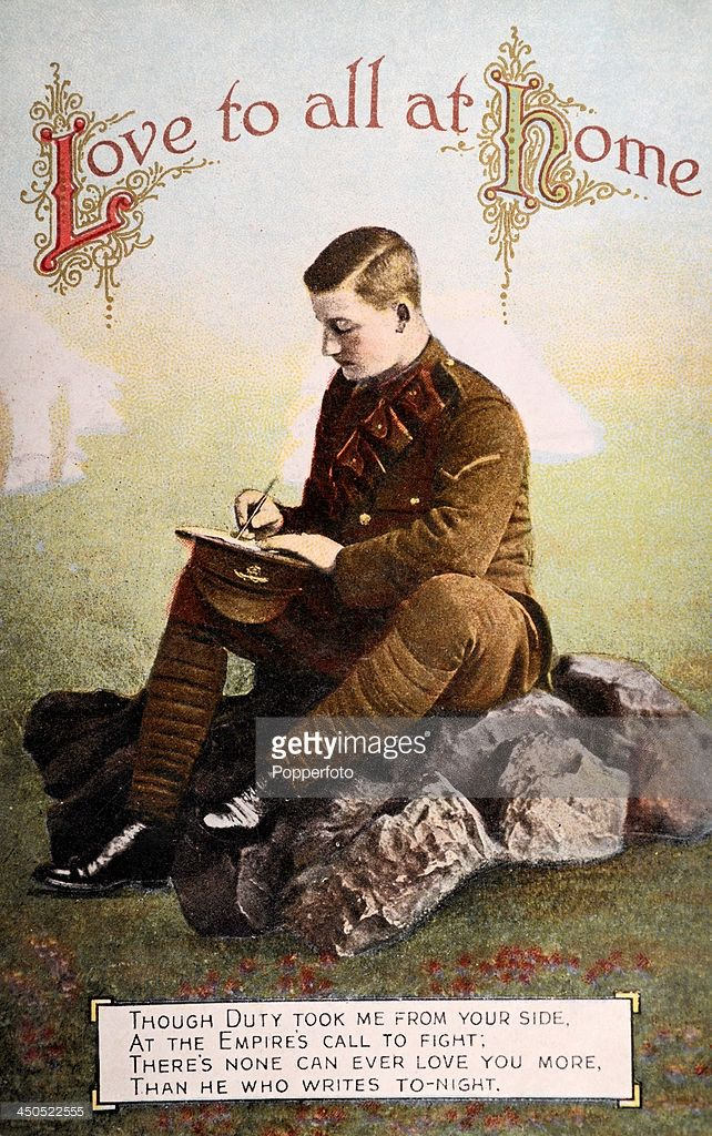 A vintage postcard featuring a British World War One soldier writing to his family back home, circa 1915.
