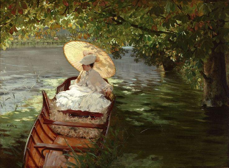 Giuseppe de Nittis (italian, 1846_1884)_In Canotto (Woman in a canoe)