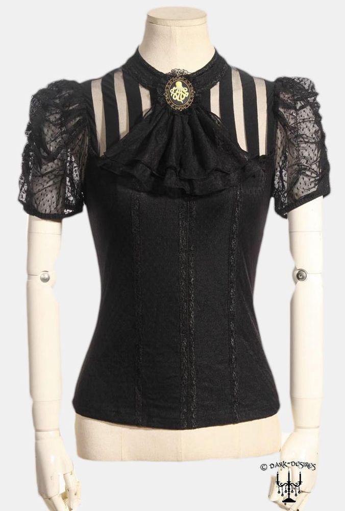 Gothic viktorianische Bluse Top Shirt Jabot + Brosche Steampunk RQ-BL schwarz