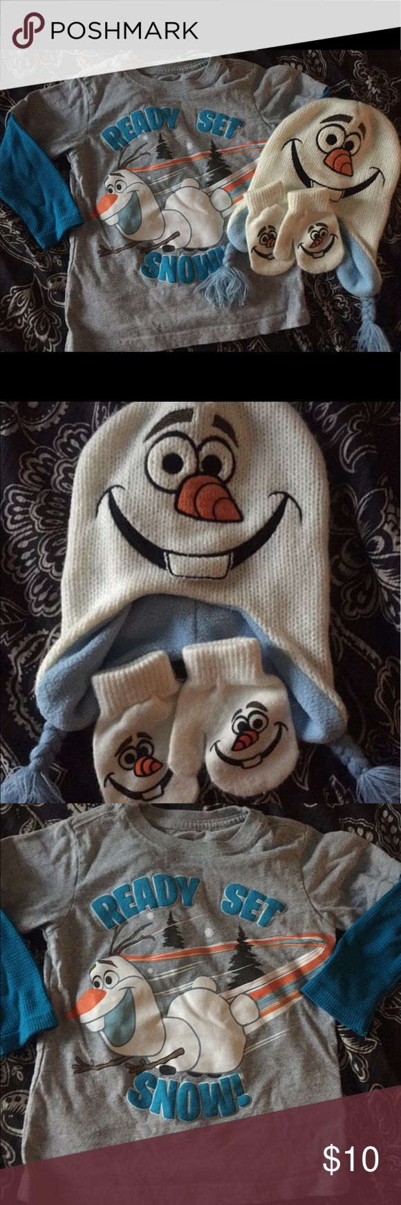 """3-piece Olaf winter set Grey Tshiet, with thermal blue long sleeves. Olaf picture with """"Ready Set Snow"""" printed on it. Matching knit hat, with Olaf eyes and nose and smile, and two matching gloves! Disney Matching Sets"""