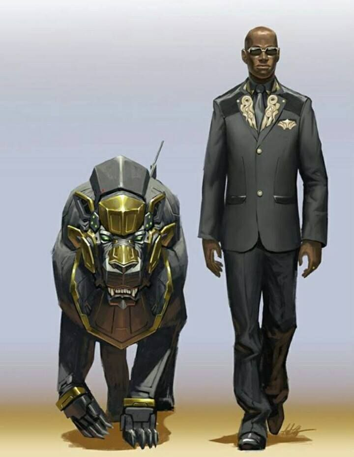 shadowrun; male; human; black-skinned with cyberlion; bald