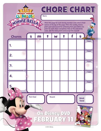 Mickey Mouse Clubhouse MinnieRella Printable Chore Chart