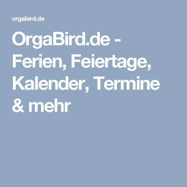 OrgaBird.de - Ferien, Feiertage, Kalender, Termine & mehr